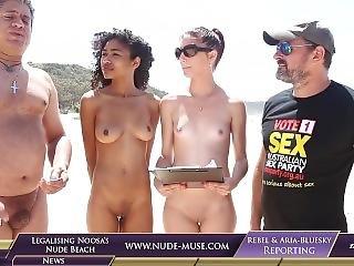 amateur, ébène, nue, publique, petits seins