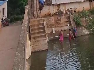 Aunties Bathing In River