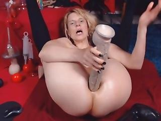 Brutal Dildo In Ass And Pussy