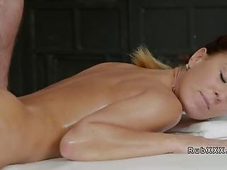Busty Petite Tattooed Brunette Babe With Piled Body Undressing Experienced Masseur And Letting Him Fuck Her In Different Positions Till Cumshot