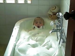 In bathing foam girl nude tub with