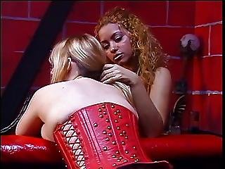 Bent Over Blonde In Red Corset Spanked On Her Fat Ass