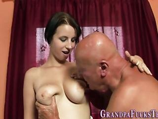Teenager Jizzed By Gramps