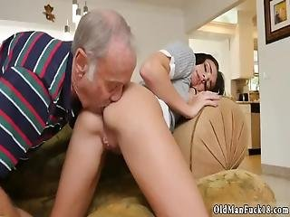 Hot Daddy Fuck And Girl Riding The Old Wood!