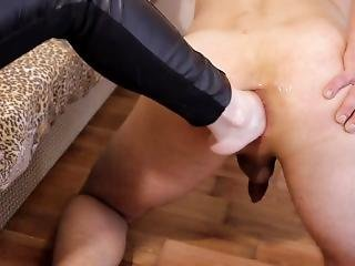 Blonde Alisa Moore Inserts Foot In The Ass