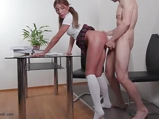 Schoolgirl Passionate Sucking Big Dick Teacher And Hard Pussy Fuck