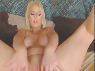Pretty Blonde Shows Cleavage And Strips For A Good Finger Fuck