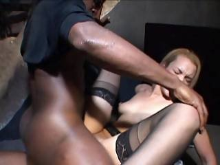 Horny Blonde Whore Services Two Black Cocks