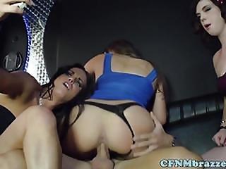 Femdom Babes Take Turn Fucking Dude On Bus