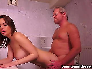 Beautyandthesenior-menacing Brunette Hair Legal Age Teenager Acquires Drilled In The Bath Threatening-fearsome Porndoe