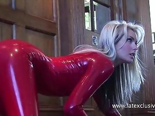 Natasha Red Latex Catsuit