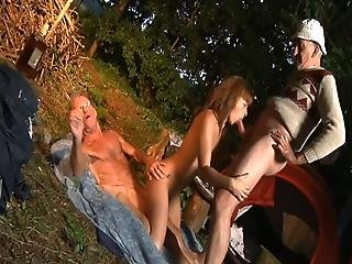 Teen Pays Two Old Men To Fuck Her With Alcohol