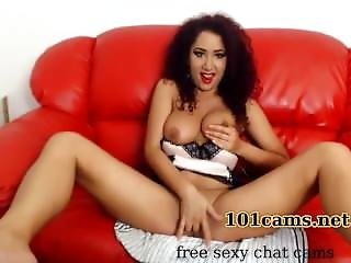 Sexy Curly Chick Charmingly Masturbates On A Large Red Sofa  101cams.net/sexy