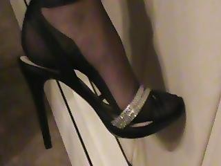Black Ff Stocking Feet In Strappy Sandals