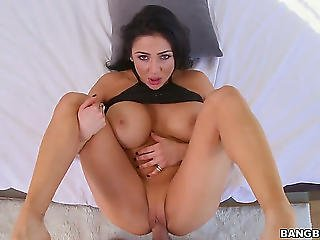 Dark Brown Audrey Bitoni With Bubbly Wazoo Likes The Way Stud Copulates Her Face Hole