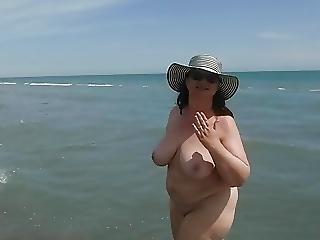 Bbw Bare Bitch On Beach Causes Boners