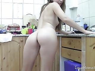 Amazing Teen Masturbates On The Kitchen Countertop