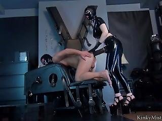 Kinky Mistress With Huge Tits And Latex Fucks Slave With Massive Strapon