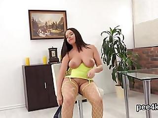 Charming Chick Is Pissing And Masturbating Hairless Honey Pot