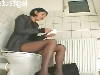 My Personal Secretary Masturbates With Dildo At The Restroom Part 2