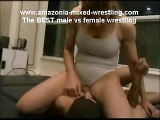 Amazon Woman - Mixed Wrestling, Smothering, And Grinding