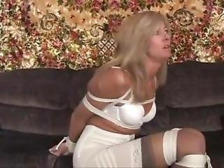 Blonde Milf Bound And Gagged In White Dress