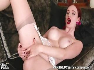 Busty Slim Redhead Zara Durose Flaunts Her Fine Body In Sexy Lingerie And Sheer Slinky Vintage Nylons Then Masturbates Wet Pussy Tease Her Ass