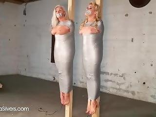 Two Busty Milf Bound & Gagged Taped Up