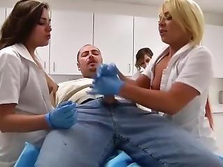 2 Nurse With Gloves Help Patient To Cum!