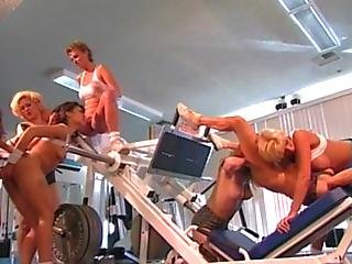 Lesbian Gangbang Orgy In Gym