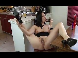Brunette With Playing In Webcam With Her Hairy Pussy