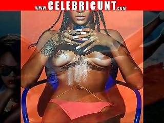 Butt Naked Ebony Celeb Rihanna Exposing Pierced Tits & Shaven Cunt
