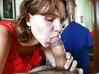 Submissive Wife Gives Blowjob Licks Cum Afterward