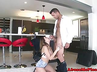 Teen Girlfriend Choked While Rough Fucked