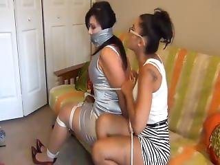Girl Tied And Tape Gagged By Girl
