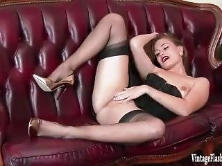 Honour May Eager To Please In Rare Vintage Corset Sheer Nylons And Heels