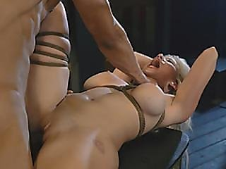 A Very Hot Blonde Teen Gets Bound To The Table And Fucked Hard By Horny Black Man