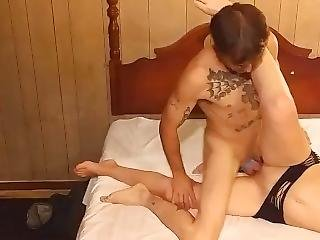 Brunette Dressed Like Stripper Takes All Of The Dick