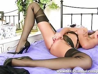 Kinky Babe Tina Kay Finger Fucks Wet Pussy In Vintage Nylons Black Lingerie
