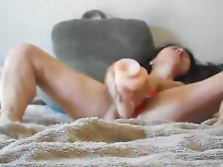 Fucking Her Little Asian Pussy With A Huge Dildo