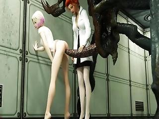 Defenseless Babes Got Destroyed By Vicious Aliens With Monster Dicks!