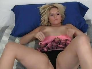 Teen Girl In School Girl Outfit Masterbating & Panty Stuffing - Home Made