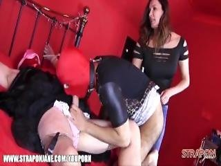Femdom Strapon Jane Teaches Two Shy Sissy Sluts To Lick Her Boots Suck Their Cocks Take Her Toys And Spunk In Face