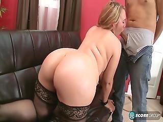 Black Stockings Chubby Brandi Sparks Hard Sex On Sofa
