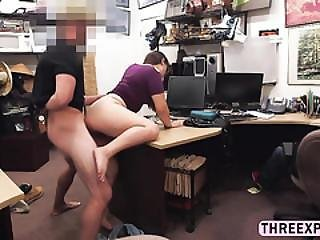 Brunette Lesbian Thief Do Not Want To Put In Jail So He Takes Huge Cock In The Shop