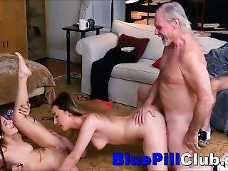 Teenage Lesbians Party Fuck 2 Old Dudes