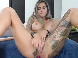 cul, gros cul, gros téton, blonde, éjaculation, masturbation, milf, solo, tatouage