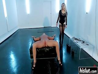 Hot Blonde Girl Starts Moaning While Another Girl Drills Her With Toys