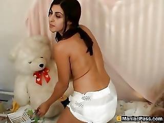 Diaper Cutie Having Solo Fun