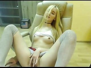 Cute Camgirl In School Girl Skirt Masturbating On A Chair
